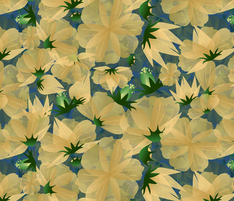 floral meadow in yellow hues fabric by kociara on Spoonflower - custom fabric