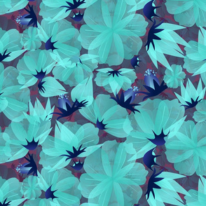 floral meadow lucid blue