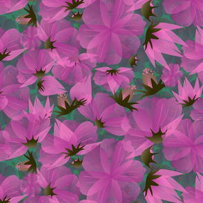 floral meadow in pinkish hues