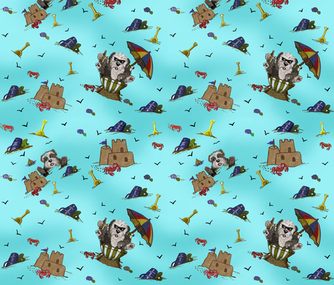 Beach Sheepies in Aqua fabric by creativeworksstudios on Spoonflower - custom fabric