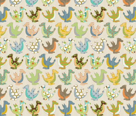Colorful Dragon no Pink fabric by littlerhodydesign on Spoonflower - custom fabric