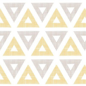 Abstract textile ikat yellow brown triangles