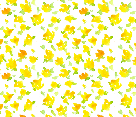 Provence Yellow Floral fabric by countrygarden on Spoonflower - custom fabric