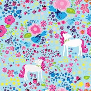Unicorn Floral Rainbow Colors on Blue background