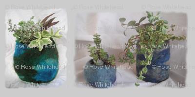 3 blue felt planters