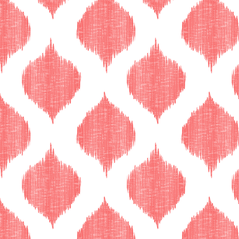 Small Scale Lela Ikat in Coral fabric by willowlanetextiles on Spoonflower - custom fabric