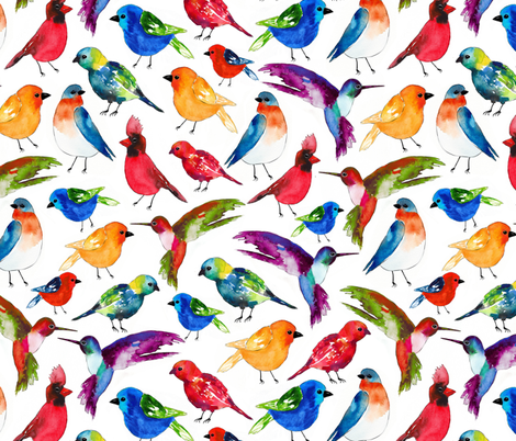 Watercolor Birds fabric by sara_berrenson on Spoonflower - custom fabric