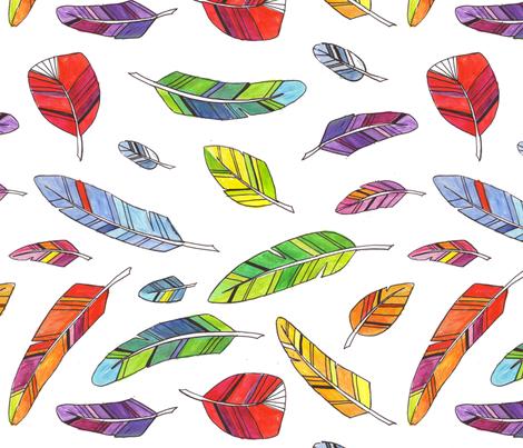 Spike's Feathers Across fabric by jenimp on Spoonflower - custom fabric