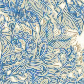 Blue & Tan Art Nouveau Pattern