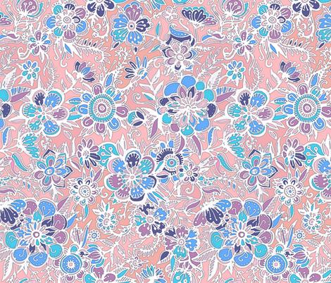 Spring Fancy Floral - peach, purple, blue, white fabric by micklyn on Spoonflower - custom fabric
