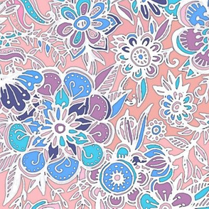 Spring Fancy Floral - peach, purple, blue, white