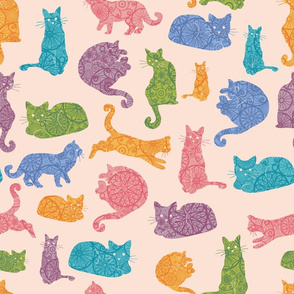 Detailed Colorful Cats Silhouettes Seamless Pattern