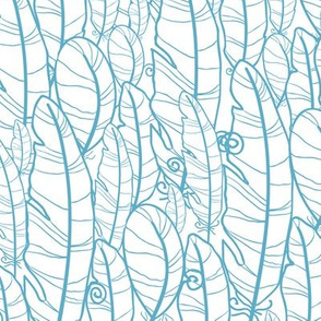 Blue drawn feathers seamless pattern