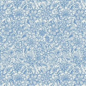 Ditsy Doodle Floral in Light Blue & Cream