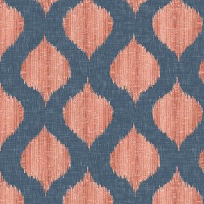 Small Scale Lela Ikat in Navy and Coral