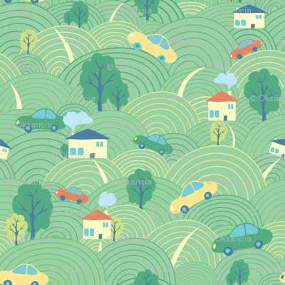 Landscape cartoon seamless pattern