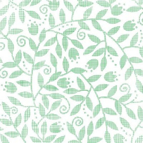 Leaves and swirls textile seamless pattern