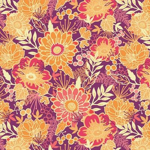 Fall flowers and leaves seamless pattern