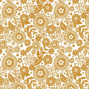 Textured wooden flowers seamless pattern