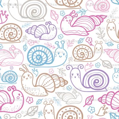 Cute colorful doodle snails