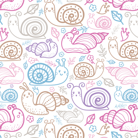 Cute colorful doodle snails fabric by oksancia on Spoonflower - custom fabric