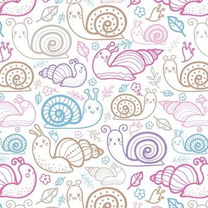 Cute colorful doodle snails