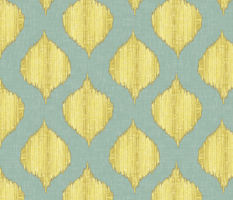 Small Scale Lela in Yellow and Blue fabric by willowlanetextiles on Spoonflower - custom fabric