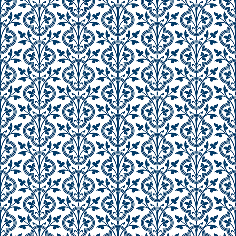 Norman Vines ~ Lonely Angel Blue and White ~ Small fabric by peacoquettedesigns on Spoonflower - custom fabric