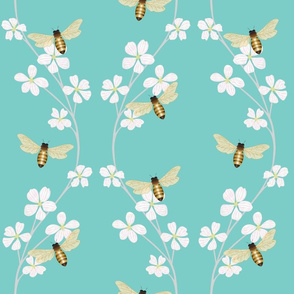 Bees on Cherry Blossoms-blue background