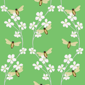 Bees on Cherry Blossoms - green background