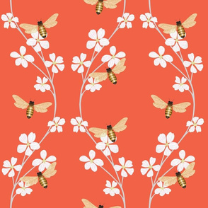 Bees on Cherry Blossoms-red background