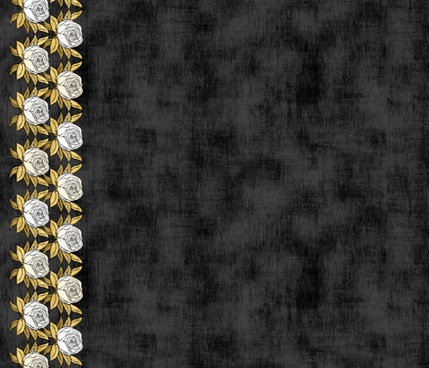 White Gold Rose Border fabric by pond_ripple on Spoonflower - custom fabric