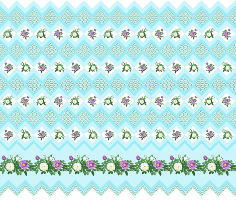 rose_border_purple_and_white_7 vert fabric by khowardquilts on Spoonflower - custom fabric