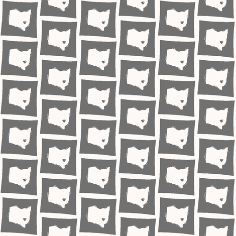 Ohio Love Small White on Grey fabric by nliff on Spoonflower - custom fabric