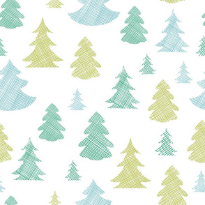 Green blue Christmas trees silhouettes textile seamless pattern