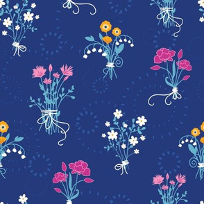 Fresh flower bouquets seamless pattern