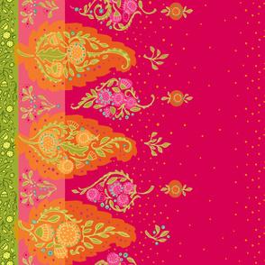 Yasmeen Floral Paisley Border_Hot  Pink