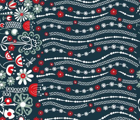 True Blue Flower Border fabric by angelastevens on Spoonflower - custom fabric
