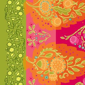 Yasmeen Floral Paisley Border_Hot Pink_56wide