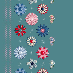 Jackie Border Print (Teal/Red/Blue) || flower floral garden vintage 60s 70s enamel brooch pin vector illustration skirt star starburst atomic