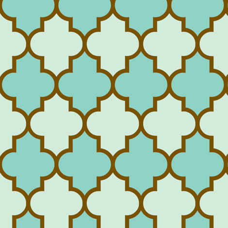 Quatrefoil Aqua Seafoam Brass fabric by paragonstudios on Spoonflower - custom fabric