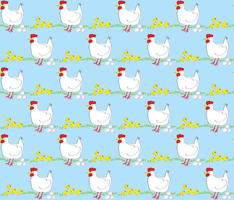 Chickens in the field fabric by solvejg on Spoonflower - custom fabric