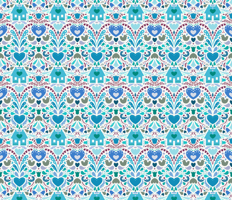 Bursting at the Seams With Love - Blues fabric by jesseesuem on Spoonflower - custom fabric