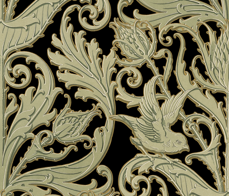 Thistleloch Manor ~ Antique Gilt on Black  fabric by peacoquettedesigns on Spoonflower - custom fabric