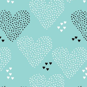 I love you sweet scandinavian style graphic hearts illustration print in blue