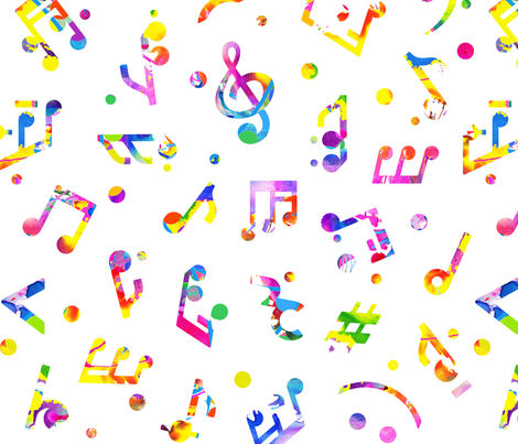 music notes colored large scale wallpaper happyart spoonflower