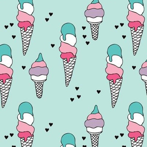 Hot summer colorful blue pink and violet ice cream cone popsicle summer design print for kids