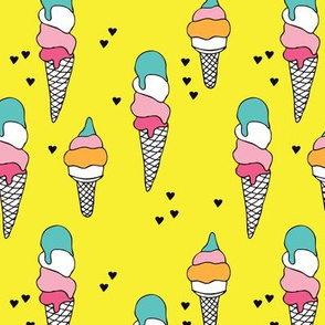 Hot summer yellow ice cream cone summer print for kids