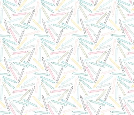 Pencil Fun Multicolored (Elementary) fabric by brendazapotosky on Spoonflower - custom fabric