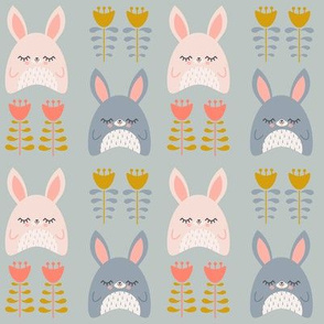 Bunnies & Tulips Gray